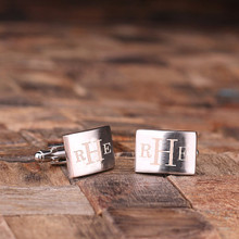 Groomsmen Bridesmaid Gift Personalized Engraved Cuff Links – Classic Monogram