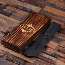 Groomsmen Bridesmaid Gift Personalized Black Tie Cuff Links Tie Clip with Wood Box Boyfriend Gift Groomsmen Gift for Men Christmas
