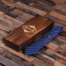 Groomsmen Bridesmaid Gift Personalized Dark Blue Striped Tie Cuff Links Tie Clip with Wood Box Boyfriend Gift Groomsmen Gift for Men Christmas