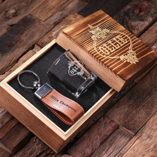 Groomsmen Bridesmaid Gift Personalized Engraved Groomsmen Shot Glass and Key Chain Set
