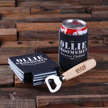 Groomsmen Bridesmaid Gift Beer Can Holder and Wood Beer Bottle Opener