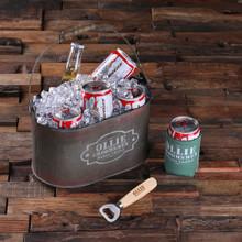 Groomsmen Bridesmaid Gift Ice Bucket with Beer Can Holder and Wood Beer Bottle Opener