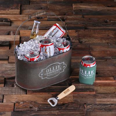ice bucket with beer can holder and wood beer bottle opener nostalgic imprints inc. Black Bedroom Furniture Sets. Home Design Ideas