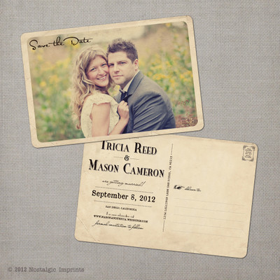 Tricia - 4x6 Vintage Photo Save the Date Postcard card