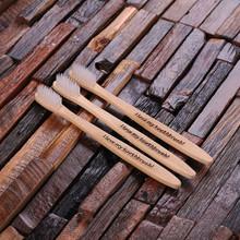 Groomsmen Bridesmaid Gift 3pc Wooden Toothbrush Set