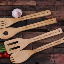 Groomsmen Bridesmaid Gift 4pc Wooden Utensil Set