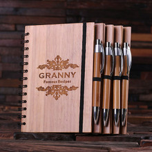 Groomsmen Bridesmaid Gift Spiral Bamboo Notebook and Pen