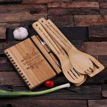 Groomsmen Bridesmaid Gift Spiral Bamboo Notebook Pen and 4 Kitchen Utensils