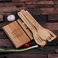 Groomsmen Bridesmaid Gift Spiral Bamboo Notebook Pen and 4 Kitchen Utensils