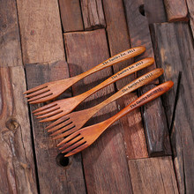 Groomsmen Bridesmaid Gift 4pc Wooden Dinner Salad Forks
