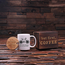 Groomsmen Bridesmaid Gift 12 oz. Coffee Mug with Lid and Tea Box (P00051)