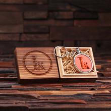 Groomsmen Bridesmaid Gift Acrylic Monogram Key Chain with Wood Box (Orange)