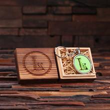 Groomsmen Bridesmaid Gift Acrylic Monogram Key Chain with Wood Box (Green)