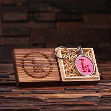 Groomsmen Bridesmaid Gift Acrylic Monogram Key Chain with Wood Box (Pink)