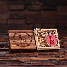 Groomsmen Bridesmaid Gift Acrylic Monogram Key Chain with Wood Box (9_Red)