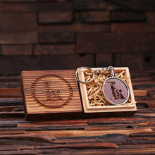Groomsmen Bridesmaid Gift Acrylic Monogram Key Chain with Wood Box (Brown)