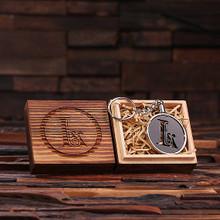 Groomsmen Bridesmaid Gift Acrylic Monogram Key Chain with Wood Box (Black)