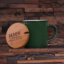 Groomsmen Bridesmaid Gift 11 oz. Ceramic Mug with Bamboo Lid (Green)