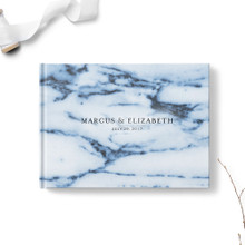 Navy Waves Marble Wedding Guest Book