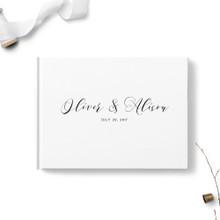 White Script Wedding Guest Book