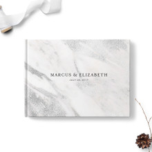 Gray Marble Wedding Guest Book