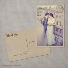 Anastasia - 4x6 Vintage Wedding Thank You Postcard card