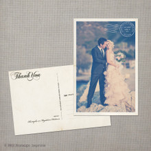 Magdalena - 4x6 Vintage Wedding Thank You Postcard card