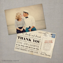 Nicole 1 - 4x6 Vintage Reception Wedding Thank You Card