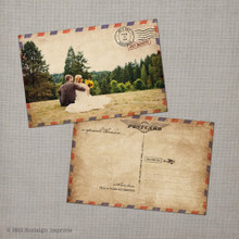 Sasha - 4x6 Vintage Wedding Thank You Postcard Card