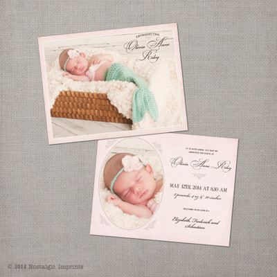 Olivia 425x55 Baby Birth Announcement Nostalgic Imprints Inc – Photo Birth Announcement