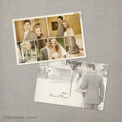 Photo collage Vintage Wedding Thank You Postcard Card Trista - 4x6 Vintage Wedding Thank You Postcard