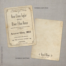 Rose 2 - 5x7 Vintage Wedding Invitation