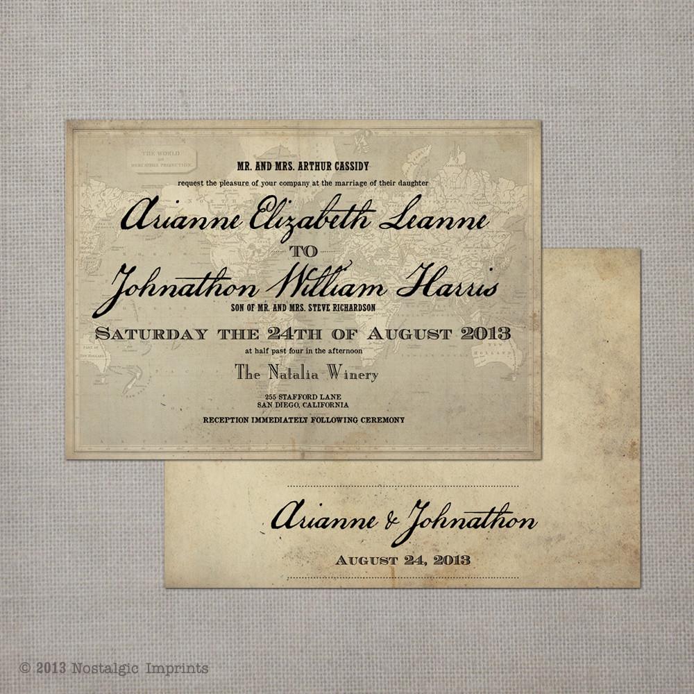 Arianne 2 - 5x7 Vintage Wedding Invitation - Nostalgic Imprints Inc.