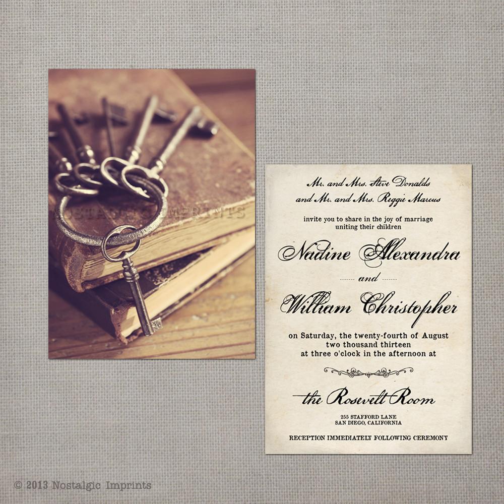 Nadine - 5x7 Vintage Wedding Invitation - Nostalgic Imprints Inc.