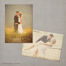 August - 5x7 Vintage Wedding Thank You Postcard card