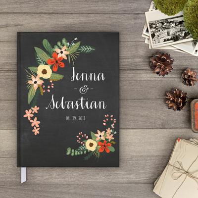 wedding Guest book Guestbook - Botanical flower flower Garden 1 (gb0001)