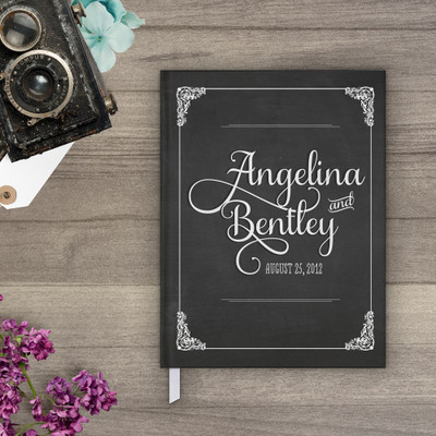 Chalkboard art wedding guestbook guest book