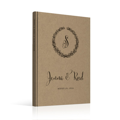 wedding guest book Guestbook - Monogram 3 (gb0020)