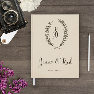 wedding guest book Guestbook - Monogram 5 (gb0022)