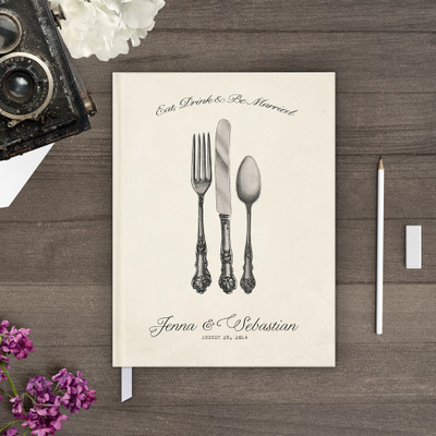 eat drink be married cutlery wedding guest book guestbook gb0024