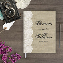 burlap and lace guest book guestbook gb0028 Guestbook - Burlap & Lace Guest book (gb0028)