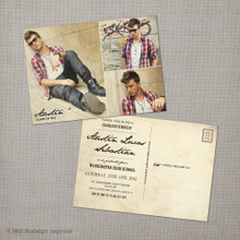 Austin - 5x7 Vintage Graduation Invitation Announcement