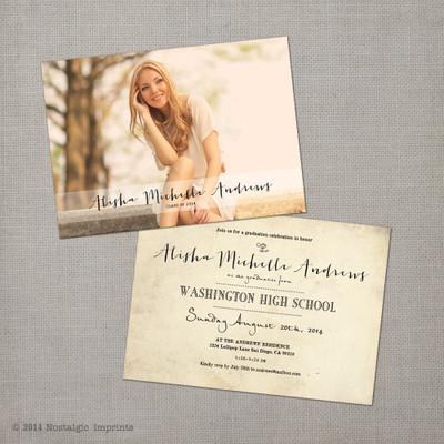 Alisha 1 Nostalgic Imprints Inc – Graduation Postcard Invitations