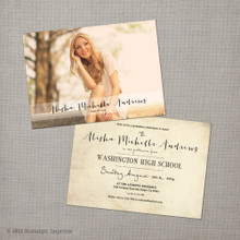 Alisha 1 - 5x7 Vintage Graduation Invitation Announcement
