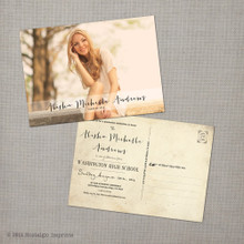 Alisha 2 - 5x7 Vintage Graduation Invitation Announcement