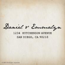 Emmalyn 1 - 3 x 1.25 Custom Return Address Stamp, Wood Handle
