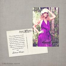 Sabrina - 4x6  Vintage Graduation Thank You Card