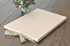 wedding guest book blush rose gold silver lace silk guestbook