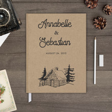 cabin trees mountains kraft rustic wedding guest book guestbook gb0069