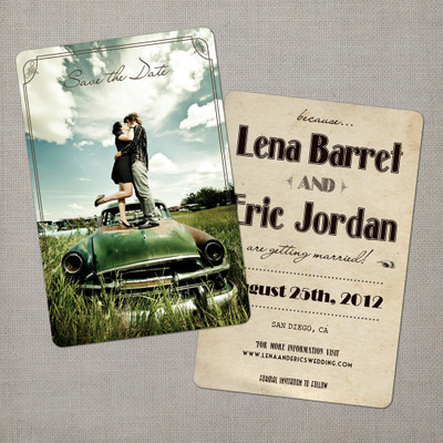 Lena - 4x6 Vintage Photo Save the Date Card